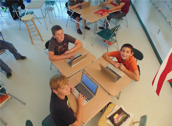 Students with Chromebooks